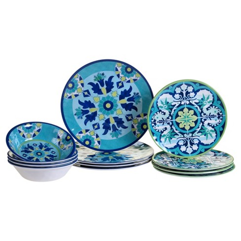 Certified International Granada by Jennifer Brinley Melamine 12pc Dinnerware Set Blue - image 1 of 1
