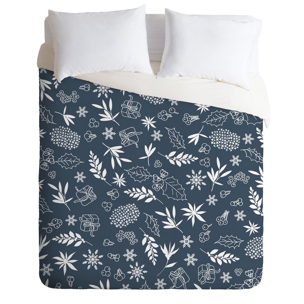 King Iveta Abolina Oslo Winter Duvet Cover Set Blue - Deny Designs