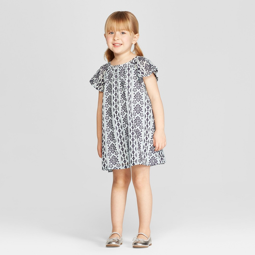 Genuine Kids from OshKosh Toddler Girls' Embroidered Chiffon A Line Dress - White 2T, Blue