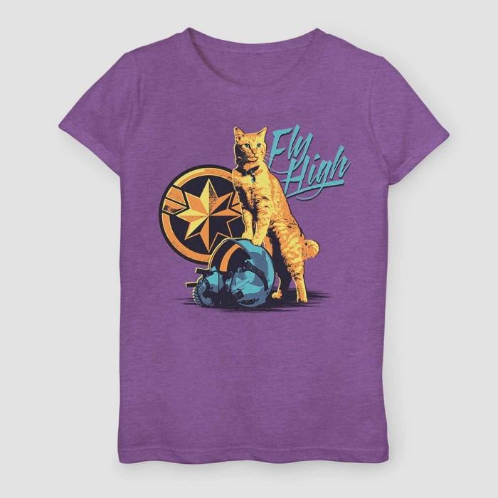Girls' Captain Marvel Fly High Short Sleeve T-Shirt - Purple - image 1 of 1