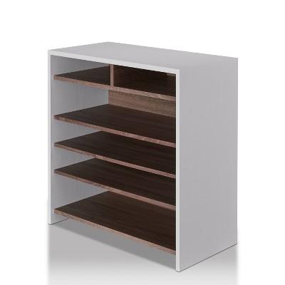 Farrar Contemporary Shoe Cabinet Chestnut Brown/White - ioHOMES