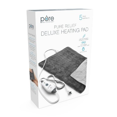 """Pure Enrichment PureRelief Deluxe Heating Pad - 12"""" x 24"""" - Gray"""