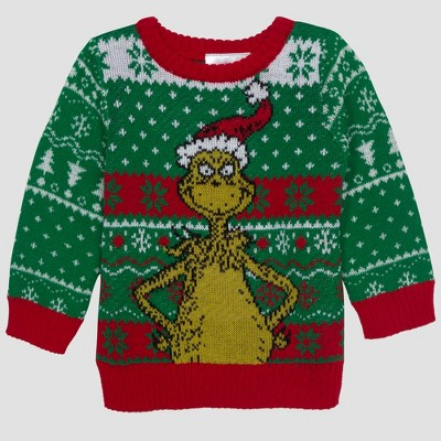 Baby Boys' Dr. Seuss Grinch Ugly Holiday Sweater - Green Newborn