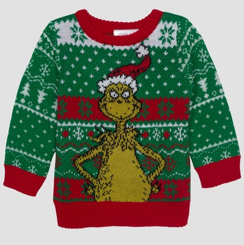 Baby Boys Dr Seuss Grinch Ugly Holiday Sweater Green 12m Target