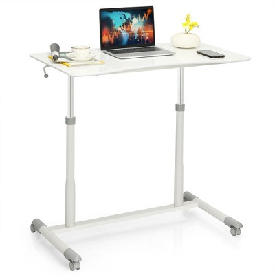 Costway Height Adjustable Computer Desk Sit to Stand Rolling Notebook Table Portable