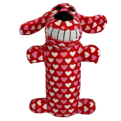 """Multipet Loofa Valentine Hearts Dog Toy - Red - 6"""""""