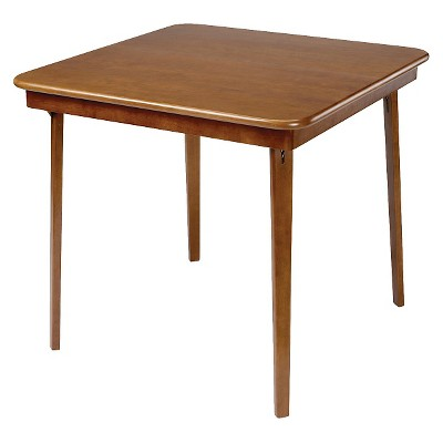 Straight Edge Folding Card Table Fruitwood - Stakmore