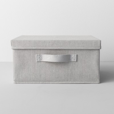 Short Fabric Bin With Lid 13  W x 13  D x 6  H Light Gray - Made By Design™