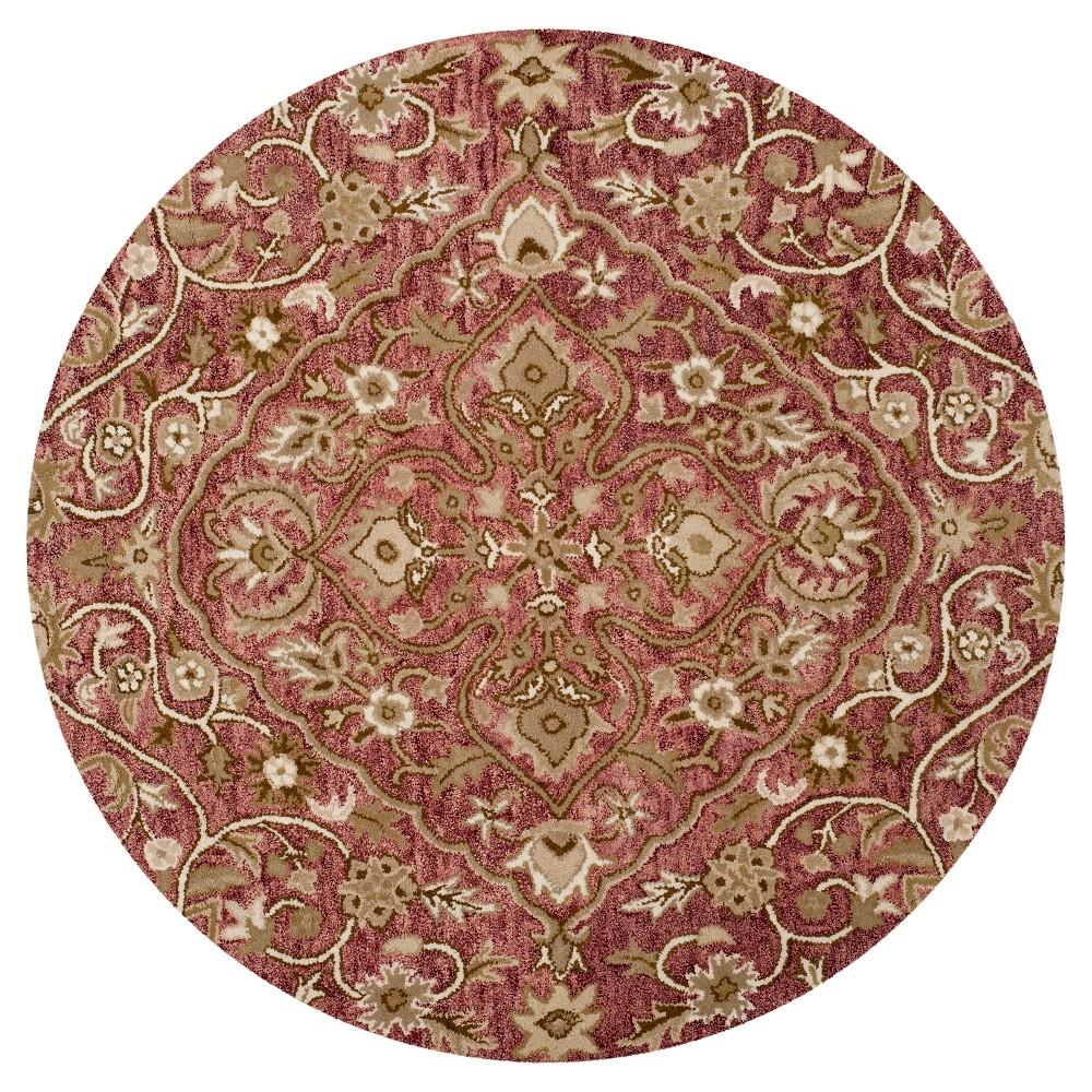 Rose/Taupe (Pink/Brown) Botanical Tufted Round Area Rug - (5' Round) - Safavieh