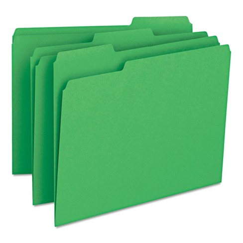 Smead® File Folders, 1/3 Cut Top Tab, Letter, Green, 100/Box - image 1 of 8