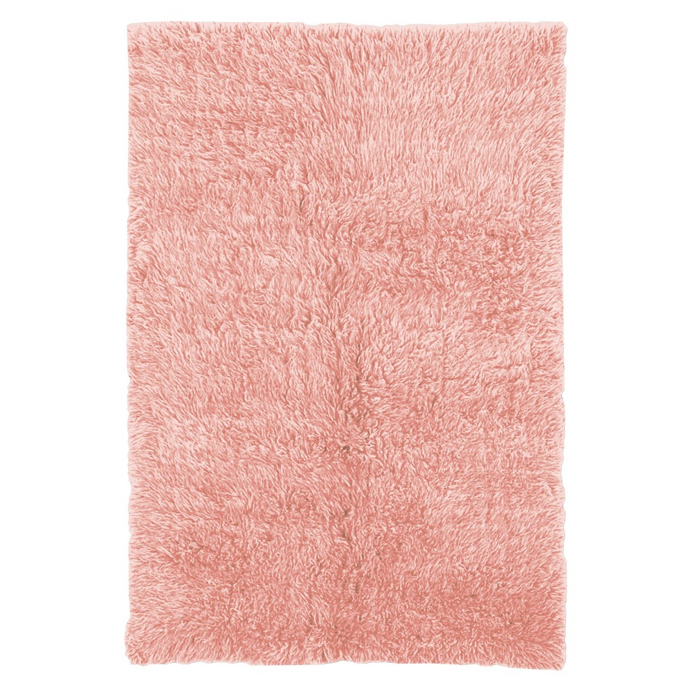 Image of 100% New Zealand Wool Flokati Area Rug - Light Pink (8' Round), Pastel Pink