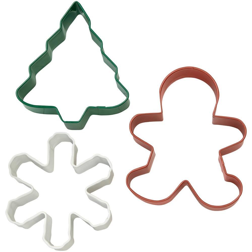 Image of Wilton 3pk Metal Cookie Cutter Set, White Red Green