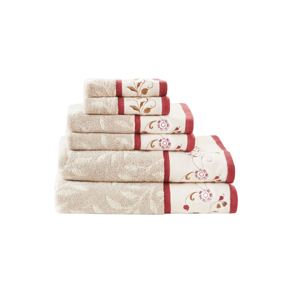 Image of 6pc Monroe Embroidered Cotton Bath Towel Set Red
