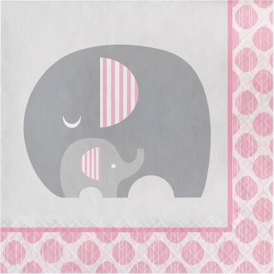 48ct Little Peanut Girl Elephant Disposable Napkins Pink