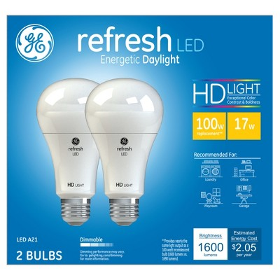 General Electric 100w 2pk Refresh Daylight Equivalent A21 LED HD