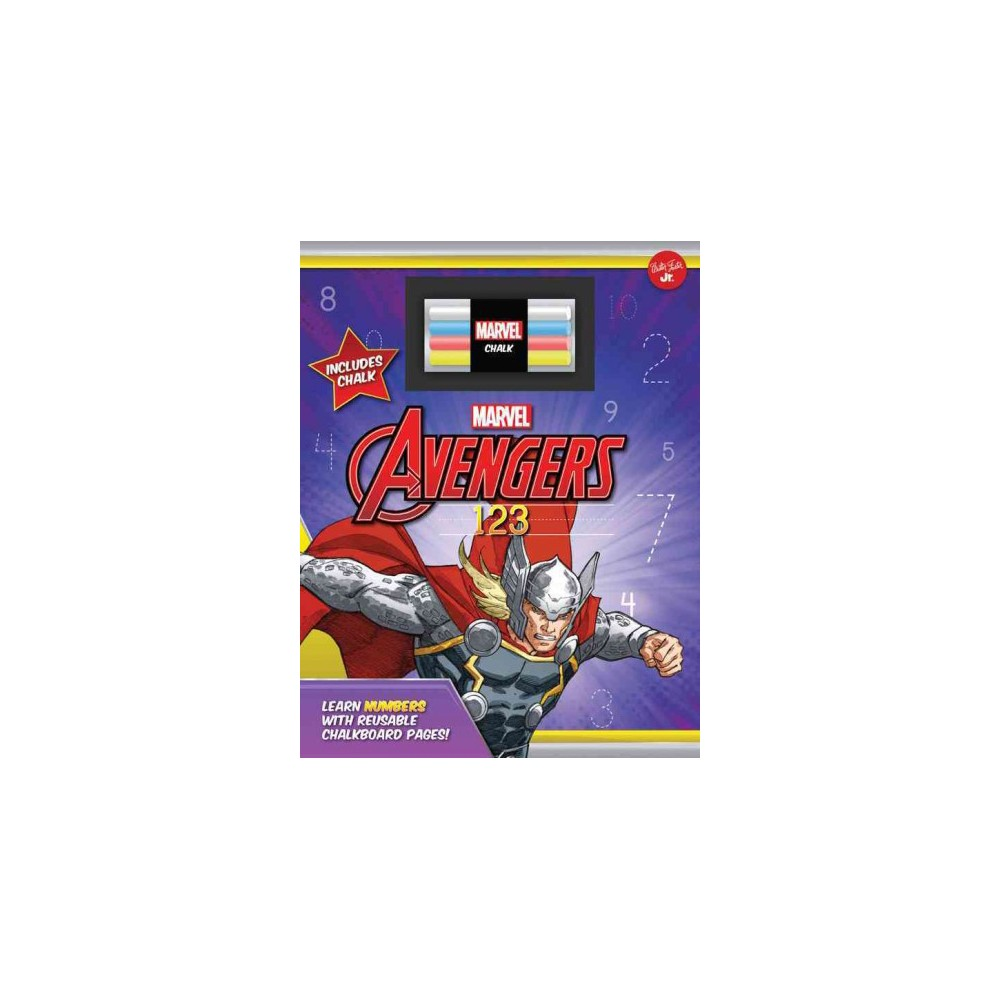Avengers Chalkboard 123 : Learn Numbers With Reusable Chalkboard Pages! (Hardcover)