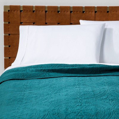 Full/Queen Stitched Medallion Quilt Teal Wave - Opalhouse™