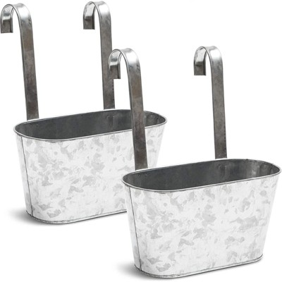"""Juvale 2 Pack Large Oval Metal Wall Hanging Planters Pots Bucket for Indoor Outdoor Succulent 10 x 4.5 x 5"""""""