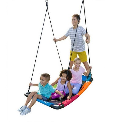 HearthSong Colorful Super Platform Swing with Foam-Padded Tubular Steel Frame and UV Rated Durable Oxford Cloth Mat