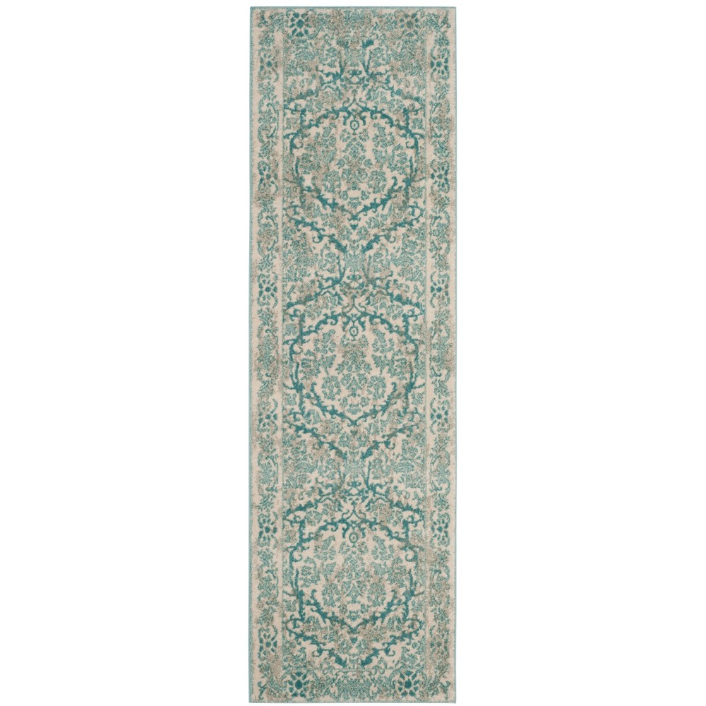 Floral Loomed Runner Rug Ivory/Light Blue