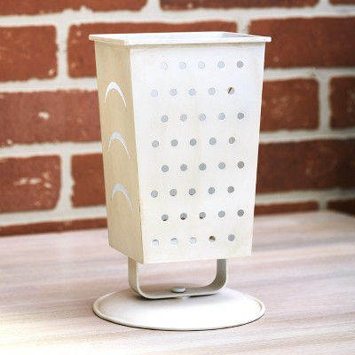 Lakeside Utensil Holder with Cheese Grater, Distressed Enamel Design