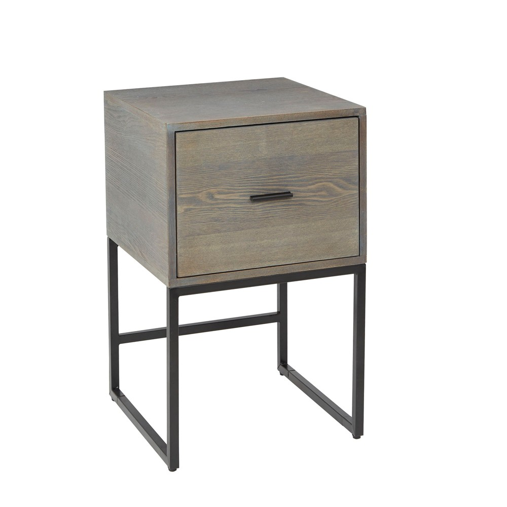 Langley Square Frame Flat Black Metal and Wood Side Table Black - Silverwood
