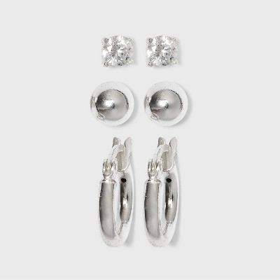 Sterling Cubic Zirconia Silver Ball Studs and Hoop Trio Earring Set - A New Day™ Silver