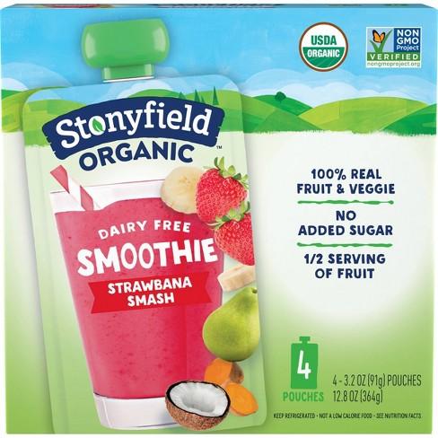Stonyfield Fruit & Veg Strawberry Smash Kids' Yogurt - 4pk/3.2oz Pouches - image 1 of 4
