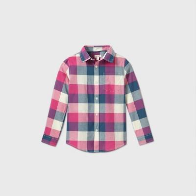 Boys' Poplin Check Long Sleeve Button-Down Shirt - Cat & Jack™