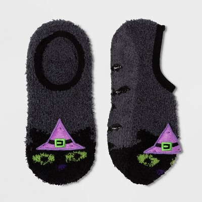 Women's Black Cat In Witch Hat Cozy Halloween Pull On Socks   Gray One Size by Target