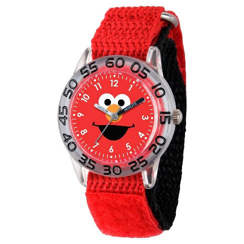 Boys' Sesame Street Clear Plastic Time Teacher Watch - Red - image 1 of 2