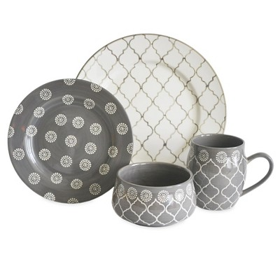 Baum Bros 16pc Stoneware Morocco Dinnerware Set Gray