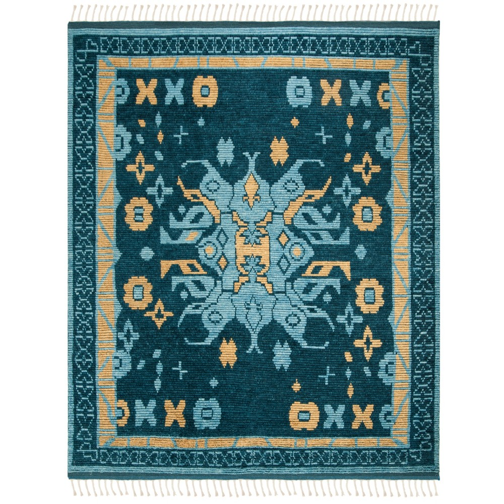 9'X12' Medallion Knotted Area Rug Blue/Gold - Safavieh