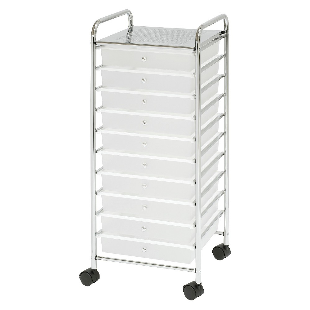 Image of Seville Classics 10 Drawer Organizer Cart - Frosted White, Silver Clear