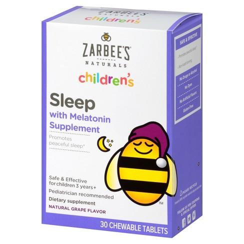 Zarbee's Naturals Children's Sleep with Melatonin Chewable Tablets - Natural Grape - 30ct - image 1 of 4