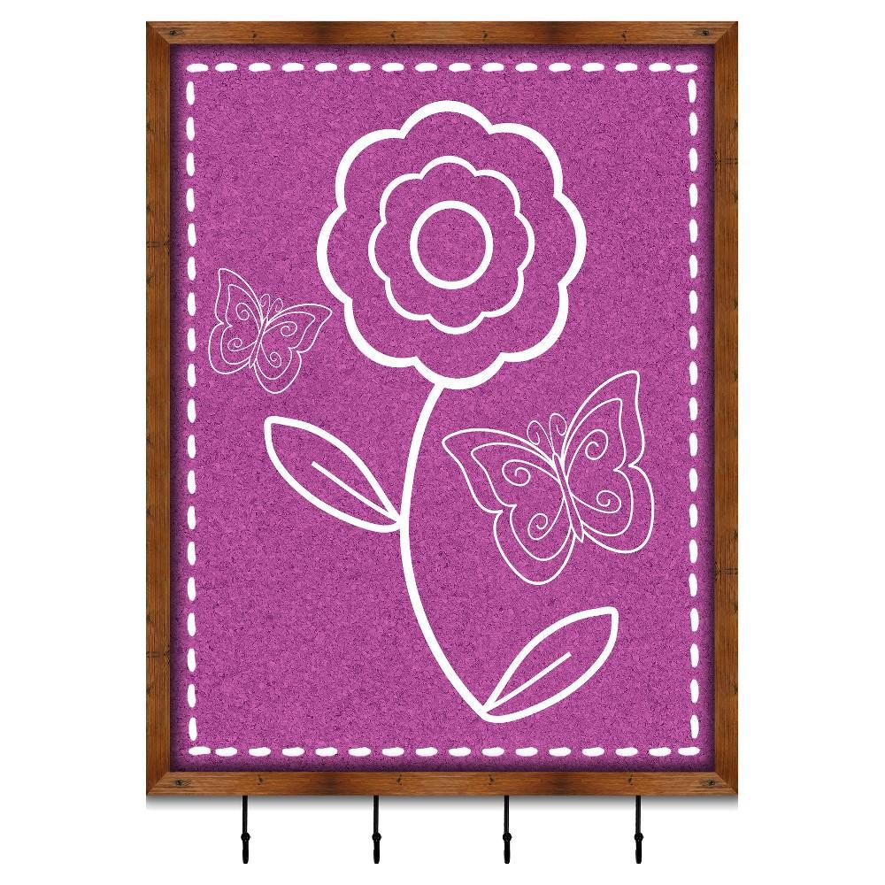 Cute Flower Memory Board With Metal Hooks, Pink/Brown