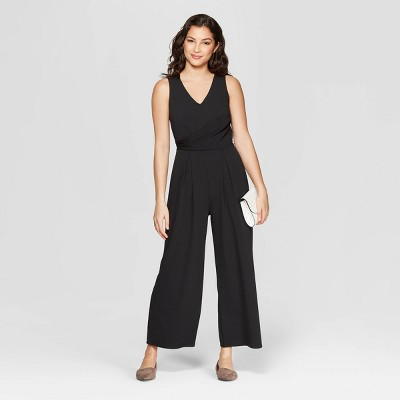 view Women's Sleeveless V-Neck Jumpsuit - A New Day Black on target.com. Opens in a new tab.
