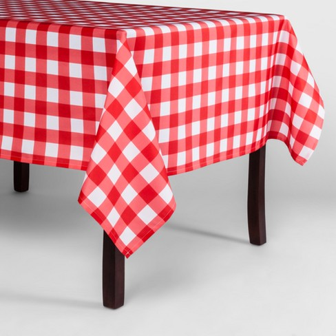 Red Plaid Rectangle Wipeable Fabric Tablecloth - image 1 of 1