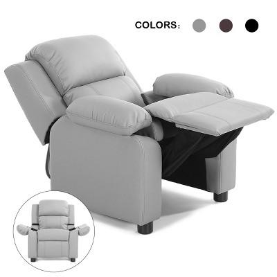 Deluxe Padded Kids Sofa Armchair Recliner Headrest Children w/ Storage Arms Gray