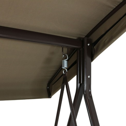 3 Person Steel Frame Canopy Patio Swing With Side Tables Cushions