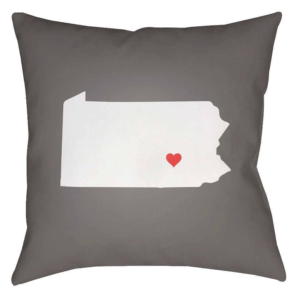 Gray State of the Heart Pennsylvania Throw Pillow 18