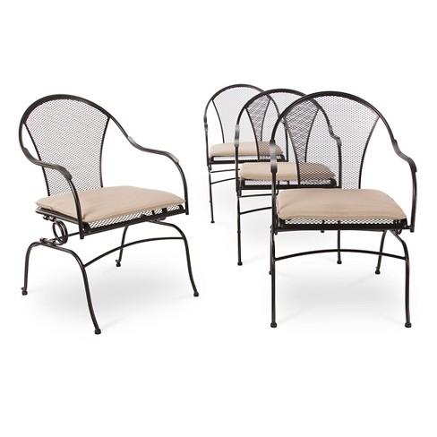 Hamlake 4pc Wrought Iron Patio Motion Dining Chair Set Target