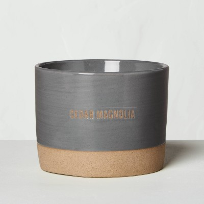 9oz Cedar Magnolia Reactive Glaze Ceramic Container Candle - Hearth & Hand™ with Magnolia
