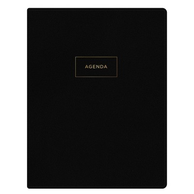 """2021-22 Academic Refillable Planner 8.5"""" x 11"""" Faux Leather Wirebound Weekly/Monthly Black - Ashley G"""