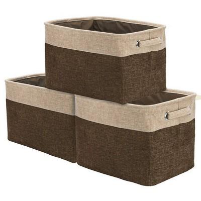 Sorbus 3pk Twill Storage Basket Set Brown