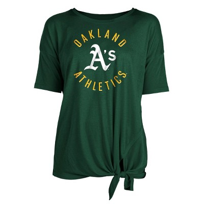 MLB Oakland Athletics Women's Poly Rayon Front Knot T-Shirt