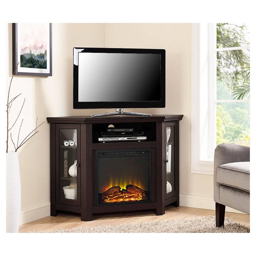 "Image of ""48"""" Wood Corner Fireplace Media TV Stand Console Espresso - Saracina Home"""