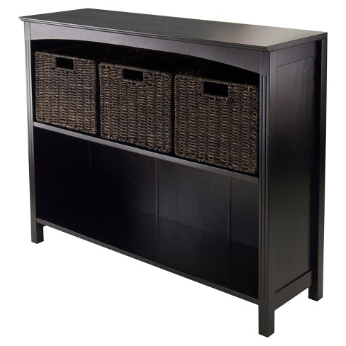 4pc Terrace Set Storage Shelf with Baskets Espresso Brown - Winsome - image 1 of 4