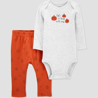 Baby Organic Cotton 'Fall in Love Pumpkin' Pants and Bodysuit Set - little planet organic by carter's Orange 3M