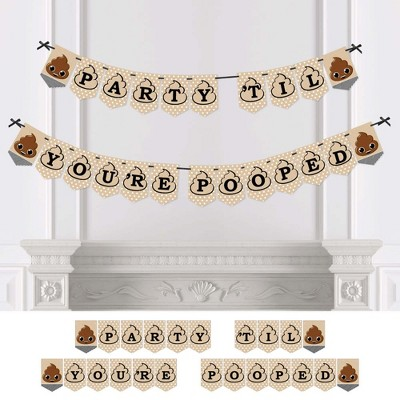 Big Dot of Happiness Party 'Til You're Pooped - Poop Emoji Party Bunting Banner - Party Decorations